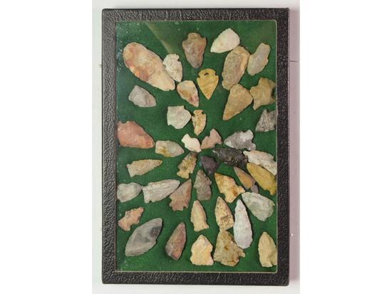 Framed Indian Arrowheads (40)