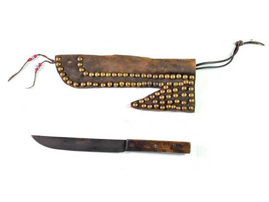 Native American Knife in Leather Scabbard