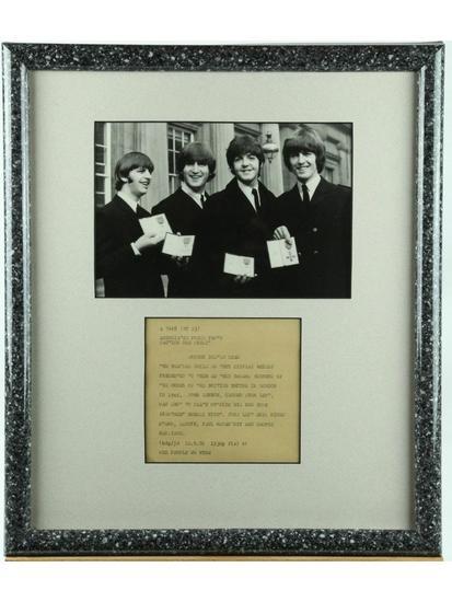 John Lennon Beatles Framed Signed Photo Teletype