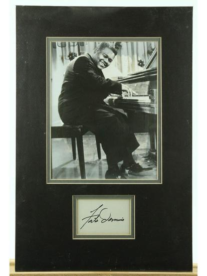 Fats Domino Matted Photo With Signature