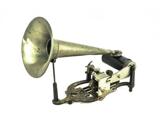 Puck Cylinder Phonograph with Horn & Reproducer