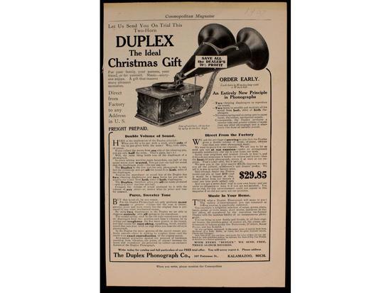 Duplex Phonograph Co. Christmas Advertisement