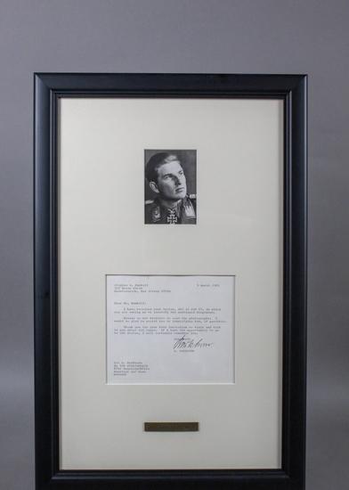 WWII Nazi Luftwaffe Gerd Barkhorn Signed Letter