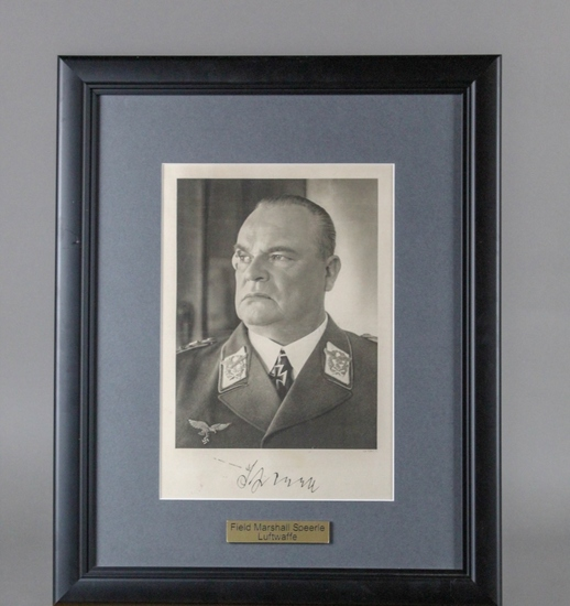 WWII Nazi Hugo Sperrle Autographed Portrait