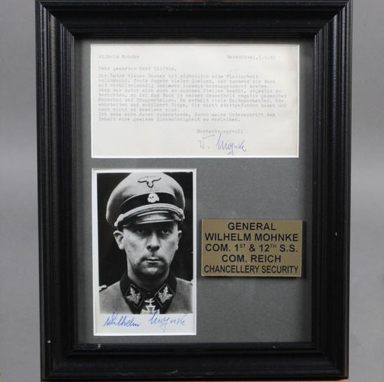 WWII Nazi SS Wilhelm Mohke Autograph Photo Letter