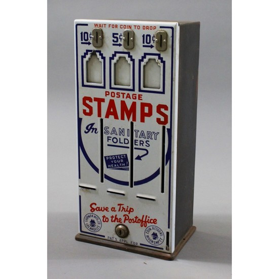 Vintage Porcelain Coin Op Stamp Machine