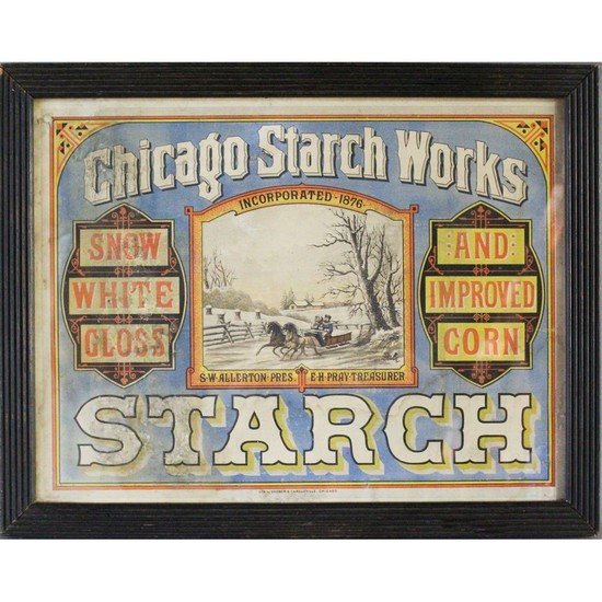 """Chicago Starch Works"" Framed Advertising Sign"