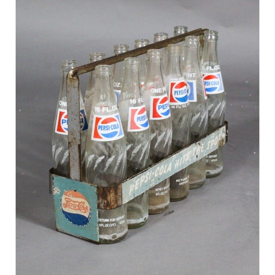 Pepsi Cola Bottles in Holder (12)