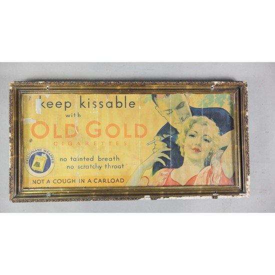 Framed Old Gold Cigarette Advertisement