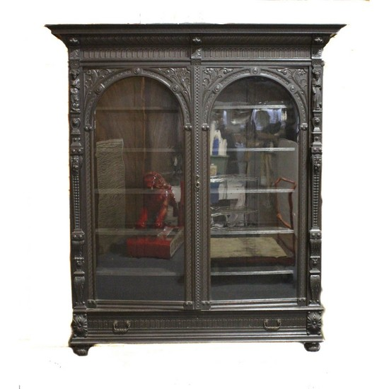 Large Carved Oak Bookcase