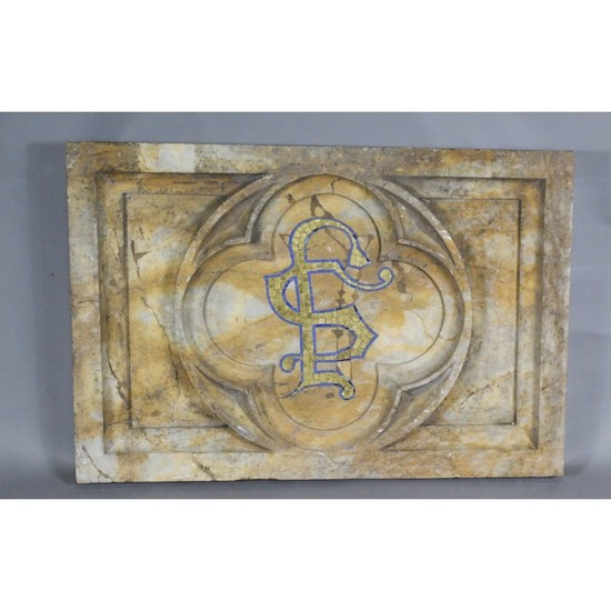 Carved Marble Panel with Mosaic Inset