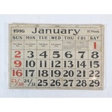 1916 Vintage Wall Calendar