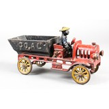 Hubley Cast Iron Coal Dump Truck with Rare Driver