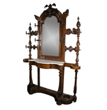 Victorian Hall Mirror, Coat Rack, Side Table