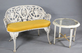 Cast Iron Porch Bench & Table (2)