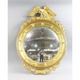 Antique Convex Porthole Federal Eagle Mirror