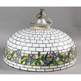 Large Antique Leaded Stained Glass Ceiling Shade