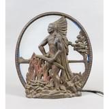 Cast Metal Native American Motif Table Lamp