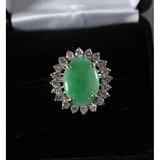 Jade & Diamond Ring Size 8