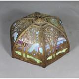 Vintage Slag Glass Ornate Metal Shade