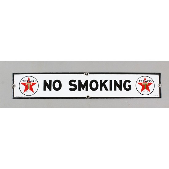 "Vintage Texaco Porcelain ""No Smoking"" Sign"