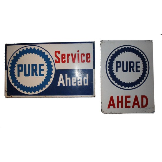 "Automotive ""Pure"" Oil Gas Station Signs (2)"