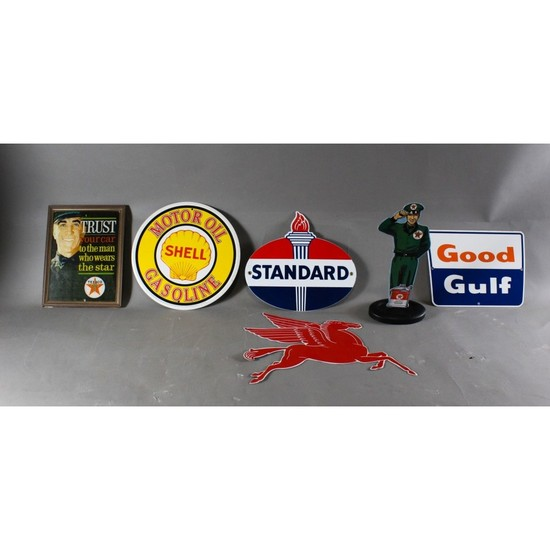 Tin Advertising Gas Signs and Texaco Frame (6)