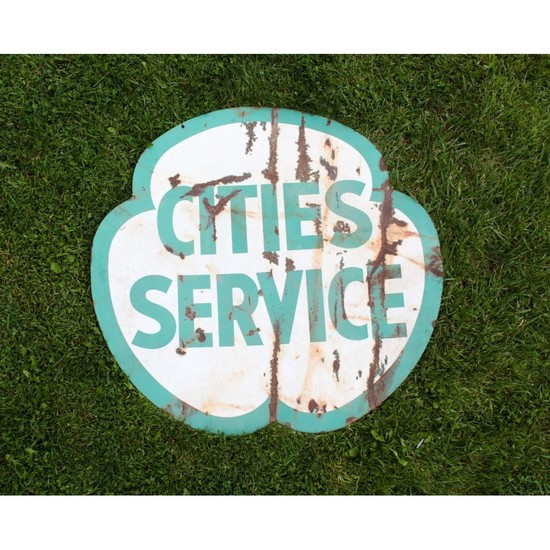 "Large ""Cities Service"" Gas Station Porcelain Sign"