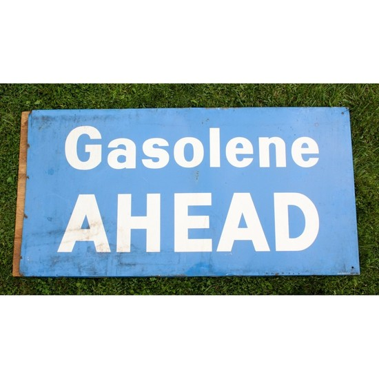 """Gasolene Ahead"" Large Gas Station Tin Sign"