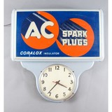 Vintage AC Spark Plugs Sign with Clock