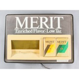 Merit Cigarette Light Up Sign with Clock