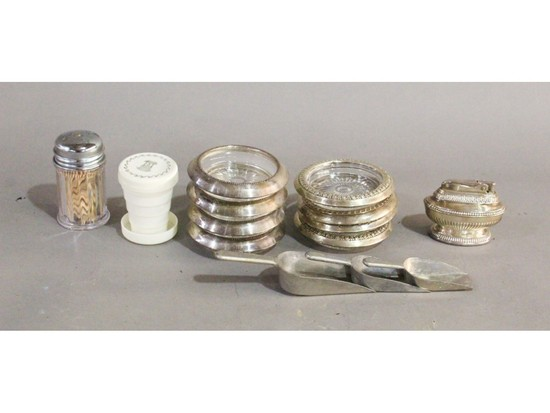 Sterling Coaster Set (8), Table Lighter
