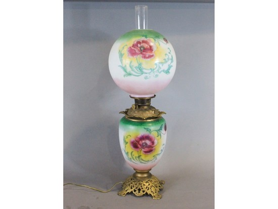 Antique Gone with the Wind Rose Electrified Lamp