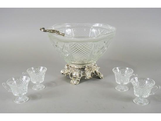 Pressed Glass Punch Bowl Set