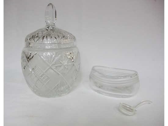 Crystal Candy Jar and Bowl with Glass Spoon (2)