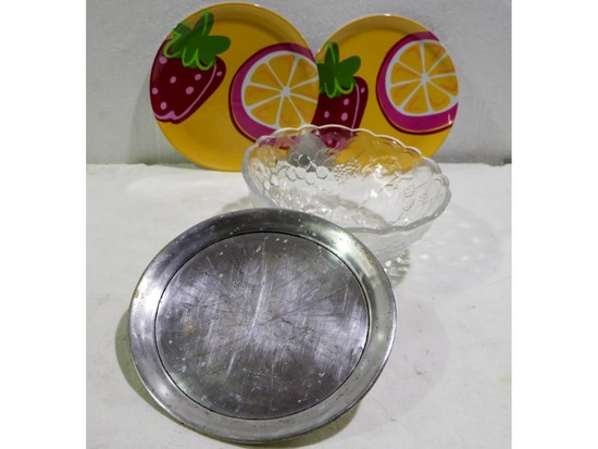 Box Lot Pressed Glass Fruit Bowl and More
