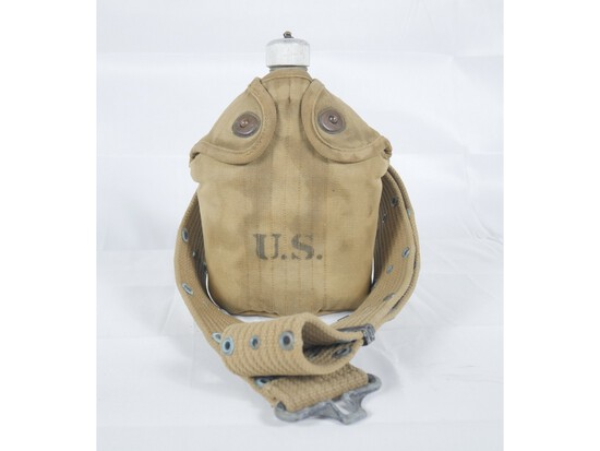 WWI US Canteen w/ Cover & Web Belt