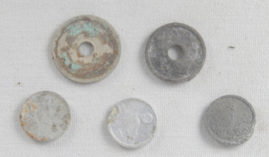 Iwo Jima & Okinawa Japanese & Chinese Coins (5)