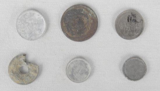 Iwo Jima & Okinawa Japanese & Chinese Coins (6)