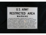 US Army Restricted Area Warning Sign