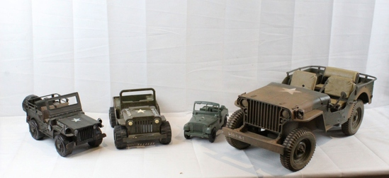 4 US Army Toy Jeeps