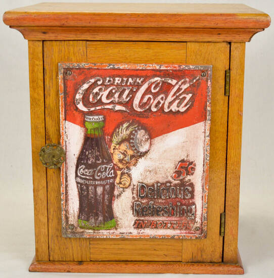 Oak Cabinet with Cast Iron Coca Cola Front