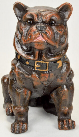 Large Cast Iron Bull Dog Bank