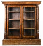 Large Faux Wood Grain Bookcase w/Glass Doors