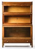 1900's Macey Oak Stepback 3-Stack Bookcase