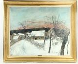 Bernard Gantner Winter Landscape Oil Painting