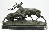 Bronze Fighting Elk Sculpture