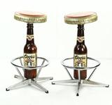 Pair Coors Beer Bottle Bar Stools