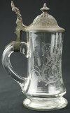 Etched Glass Beer Stein