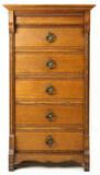 Oak Five Drawer Cylinder Record Cabinet